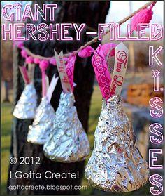 DIY Giant Hershey-filled Kisses!  via I Gotta Create!