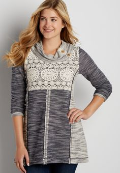marled tunic pullover with crochet and cowl neck
