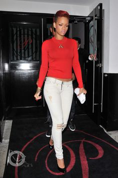 Rihanna personal street style candid 2010 red hair