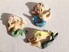Vintage 1950s 1960s Lot 3 Mid Century Lefton Style Ceramic Mermaids Bathroom   eBay