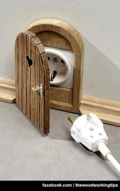Mouse hole or fairy door outlet cover- soooo cute! Diy Interior, Interior Decorating, Decorating Ideas, Decor Ideas, Interior Design, Diy Ideas, Decorating Vases, Craft Ideas, Ideas Para