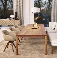 Cara | Bielefelder Werkstätten Sofa Italia, Comfortable Dining Chairs, Dining Room, Dining Table, Classic Interior, Wooden Tables, Wooden Frames, Interior Design, Bedroom