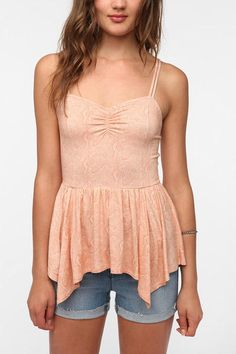 Kimchi Blue Ruched Front Peplum Cami from Urban Outfitters