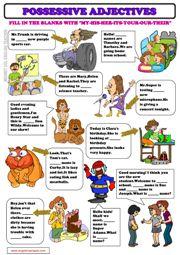 Possessive Adjectives ESL Grammar Exercise Worksheet