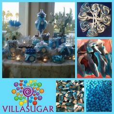 Mesa de caramelos azul