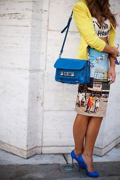 Love Love this! Print, colours - outfit got it going on!! NY spring/summer street style 2014