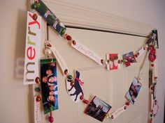 Friends and Family Garland: Made with recycled cards and photo cards