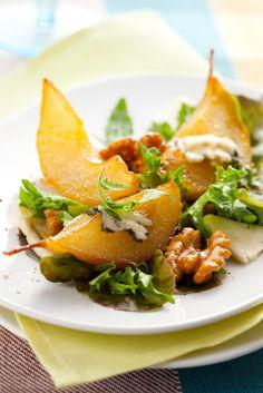 Caramel Pears, Gorgonzola Cheese and Walnuts Salad