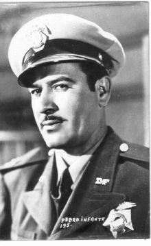 Pedro Infante, is one of the most famous actors and singers of the Golden Age of Mexican cinema and is an idol of the Latinamerican people, together with Jorge Negrete and Javier Solís, who were styled the Tres Gallos Mexicanos (the Three Mexican Roosters).