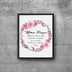 Printable Kitchen Prayer Wall Art - Instant Digital Download Kitchen Prayer Print with Pink Roses Wreath - Floral Kitchen Prayer Topography