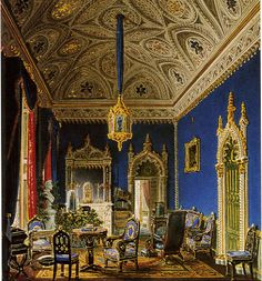 Neo-Gothic style living-room project, watercolour, c.1836. Neo-gothic style permeated everything from furniture, to mirrors, to the mantelpiece