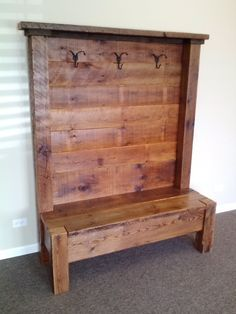 "Reclaimed Barn Wood Entry Bench.  54""L x 72""H x 18""D.  Custom sizes available!! on Etsy, $895.00"