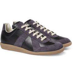 Maison Margiela - Suede and Leather-Panelled Sneakers |MR PORTER