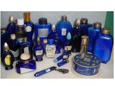 Evening in Paris collection — I used to buy the little bottle (standing) with the light blue lid from Woolworth's. Blue Perfume, Antique Perfume Bottles, Vintage Makeup, Vintage Beauty, Bourjois Perfume, Cobalt Glass, Cobalt Blue, Paris Perfume, Displaying Collections