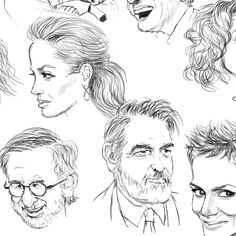 Black & white illustration of random famous faces - part 3 of a larger collage.