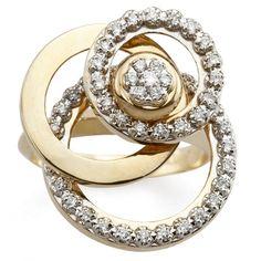 Tri-Level Flat Circle Motion Ring With Diamonds
