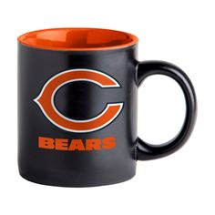 ceramic coffee mug is decorated with colorful team logos on a black matte mug and team colored inside. Microwave and dishwasher safe. Chicago Football, Nfl Chicago Bears, Oakland Raiders, Gifts For Dad, Team Logo, Coffee Mugs, Ceramics, Black, Microwave