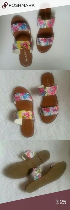 Bonnibel Floral Slide Sandals Faux leather, all man made, 0.25 rubber heel, lightly cushioned insole bonnibel Shoes Sandals