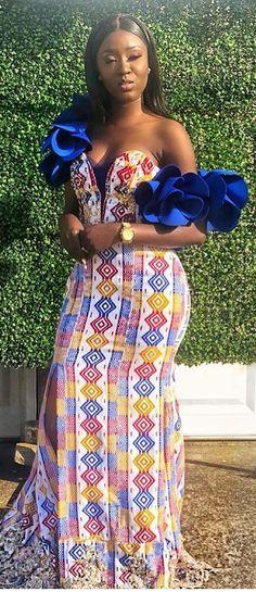 kente wedding gown fashion dress, African fashion, Ankara, kiteng… by Zahra Delong - 2019 Trends African Inspired Fashion, African Dresses For Women, African Print Dresses, African Print Fashion, African Attire, African Wear, African Fashion Dresses, African Women, Ghanaian Fashion