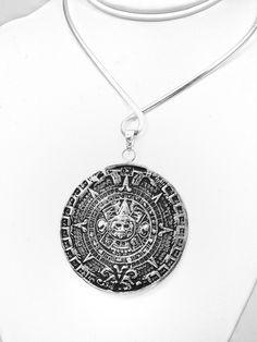 Mesoamerican aztec calendar inlaid opal necklace earring set taxco big aztec calendar pendant aloadofball Image collections