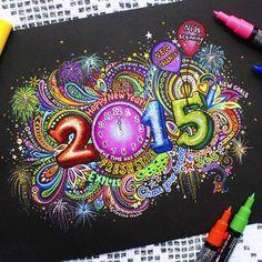 Kristina Webb @colour_me_creative Instagram photos | Websta (Webstagram) New Years drawing