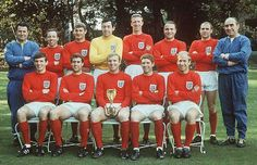 The World Cup Team of 1966. Top row, l to r: trainer Harold Shepperdson, Nobby Stiles, Roger Hunt, Gordon Banks, Jack Charlton, George Cohen, Ray Wilson, manager Alf Ramsey; bottom row, Martin Peters, Geoff Hurst, Bobby Moore, Alan Ball, Bobby Charlton.  Picture: HULTON GETTY/ALLSPORT