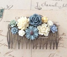 Wedding Bridal Accessories Flower Hair Comb Headpiece for Bride Ivory Cream Blue Gray Floral Collage Nature Modern Rustic Woodland Fall WR