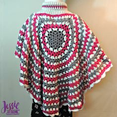 A free pattern for a Circular Poncho designed by Jessie. Featuring Red Heart With Love yarn.