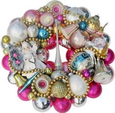 One Kings Lane - Deck the Halls - Pink Angel Holiday Wreath