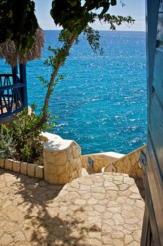 Stairs to the Sea at the Caves resort in  Negril, Jamaica   West End Rd.  Negril, Jamaica  TEL: 876-957-0270  TEL: (305) 677-2788  Email: reservations@islandoutpost.com
