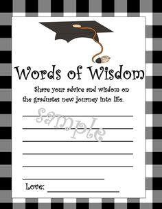 Instant Download!!!! **Watermark sample will not be on your file when downloaded Great idea for the new graduates, middle school, high school, college, etc. Let their friends and family share their own advice for the future and what they know. Will make great keepsakes for the graduates as well. This is a printable do it yourself file that will be instantly available to download when order is completed. You will receive an email from etsy, but you can also access the download in your…