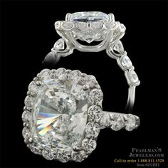 Exquisite diamonds, luxurious platinum and striking design elements combine in this magnificent engagement ring.