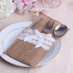 Natural Jute Lace Pockets Rustic Wedding Tableware Packaging Fork & Knife Burlap Holder Cutlery Pocket 10pcs/lot #Affiliate