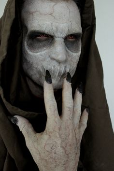 "This is what I came up with when asked to cross a ""Boogeyman"" with a ""Grim Reaper""-Makeup test for a music video.-By Rhonda Causton"