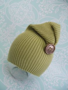 Newborn photography prop beanie cap green baby props upcycled hat baby photo props. $12.00, via Etsy.