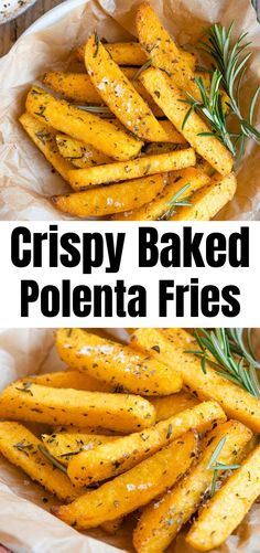 Incredibly delicious Polenta Fries baked to perfection with a crispy outside and soft and creamy middle.The easiest side dish or appetizer! Crispy Polenta, Baked Polenta, Polenta Fries, Polenta Recipes, Italian Side Dishes, Italian Dinner Recipes, Side Dishes Easy, Vegetarian Pizza Recipe, Vegetarian Stew