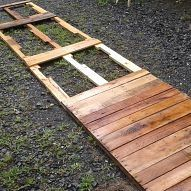 Expanding patio with repurposed pallets. We so need this to keep out of the mud in Northern NY State!!