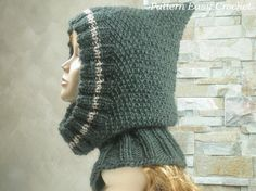 Knitting pattern  hooded cowl  winter accessories  by easycrochet, $5.50