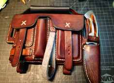 "Expedition Bag By L. Litinsky (LZZER)  - ""expedition bag"" is a great idea.  note the knife sheath"