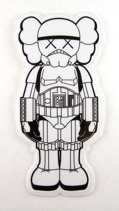 stormtrooper Companion sticker - art by KAWS Original Fake Kaws Wallpaper, Wallpaper Backgrounds, Wallpapers, Classic Cartoon Characters, Classic Cartoons, Stormtrooper Tattoo, Supreme Iphone Wallpaper, Mountain Sketch, Sneaker Art