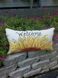 New! Yellow Sunflower Lumbar, Welcome, Fall, Autumn, Accent Pillows, Bedding Pillows, Indoor/Outdoor, Hand-painted, Pillow Cover, No. 121  This hand-painted sunflower pillow cover will be a great accent to your indoor/outdoor spring decorations. Signed by artisan. It is 100% cotton, canvas fabric. Easy accessible back overlaps to fit pillow insert. Designed to fit a 12 x 22 inch lumbar insert.  To view our other items visit our shop: https://www.etsy.com/shop/SippingIcedTea  **NOTE** This…