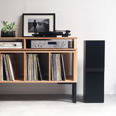 Stunning solid ash, minimal and streamlined and designed for a special record collection and hifi Vinyl Record Cabinet, Record Player Cabinet, Stereo Cabinet, Vinyl Record Storage, Record Player Stand, Lp Storage, Turntable Setup, Vinyl Room, Solid Wood Cabinets