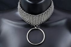 Dragonscale Steel Chainmail Slave Collar Womens BDSM Jewelry Statement Necklace Choker