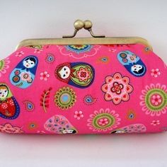 Bright Pink Russian Doll Clutch Bag  Make up Purse