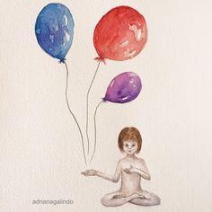Watercolor, Arches paper , 30 x23 cm / balloon, meditation, yoga, children, sacred, painting pintura illustration ilustracao infantil fantasy/ Aquarela sobre papel Arches,  30 x 23 cm / meditacao / sagrado / SHOP: drigalindo1@gmail.com