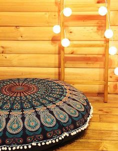 Mandala Floor Cushion Cover  - would be cool if they embellished the mandala