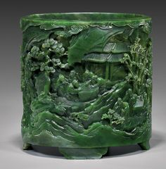 Important Chinese jade brush pot