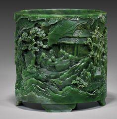 Important Chinese jade brush pot