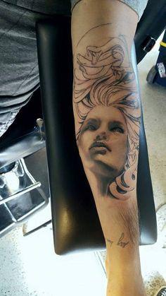 Chronic Ink Tattoo - Toronto Tattoo  Medusa head tattoo in progress done by Kevin.