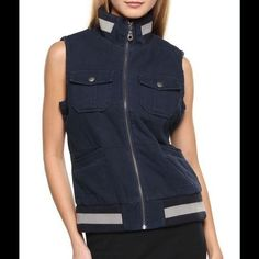 Paper denim & cloth vest  Trendy vest in midnight navy! Great condition. Filled with some light quilt for extra warmth. Features two flap pockets with snap closures at bust  Two slip pockets at front ,Zippered closure.Banded and ribbed collar and hem  -Shell: 100% Cotton -Quilting: 100% Polyester -Ribbing: 100% Acrylic paper denim & cloth Jackets & Coats Vests